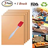 BBQ Grill Mat,Non Stick Microwave Oven Tray Liner Teflon Cooking Mats - Heat Resistant for Baking Pizza,Grilling Meat Veggies & Seafood on Gas,Charcoal or Electric Eholder Set of 5 + 1 Silicone Basting Brush Outdoor Camping & Picnic Barbecue Sheets Copper