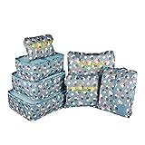 Maomaoyu Reisegepäck-Organizer, Koffer, Aufbewahrungstaschen, Packwürfel, atmungsaktiv, leicht, Farboptionen Blue Flowers 01