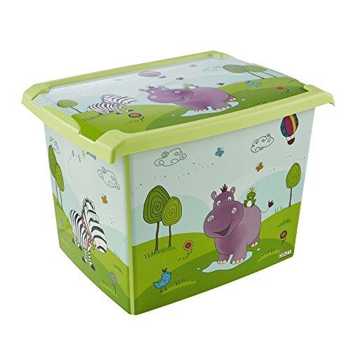 keeeper Hippo Aufbewahrungsbox mit Deckel, 39 x 29 x 27 cm, 20,5 l, Filip, Grün