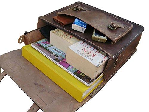 Casami Leder Aktentasche Umhängetasche Lehrertasche 38x30x11cm (Braun ) Braun