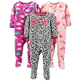 Simple Joys by Carter's Baby-Girl's 3-Pack Loose Fit Flame Resistant Fleece Footed Pajamas