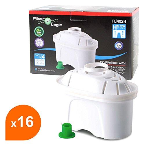 FilterLogic FL402H - 16er Pack Filterkartuschen für Tischwasserfilter, kompatibel mit BRITA Maxtra Wasserfilter Kartuschen / TASSIMO Joy Charmy Caddy Fidelia / Bosch Filtrino THD Heißwasserspender
