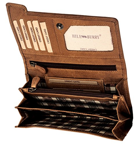 Hill Burry hochwertige Geldbörse | aus weichem Vintage echt Leder Portmonee | Herren - Damen | Langes Portemonnaie - Kreditkartenetui / Geldbeutel (Braun)