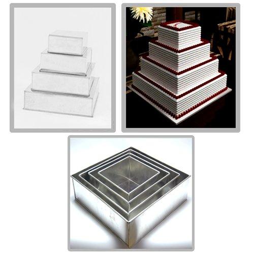 EUROTINS Moules carrés quatre niveaux pour gâteaux d'anniversaire et de mariage, de 6\\