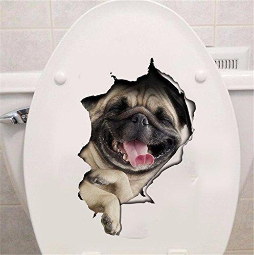 -Homeworld- Großer Hunde-Aufkleber mit 3D Effekt, 27x18cm, Perfekt für WC Toilettendeckel, Den Kühlschrank und Verschiedene Weiße Möbel. Tolles Geschenk für Hundeliebhaber!