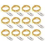 Zerproc Guirlandes Lumineuses cuivre à Piles(Packs de 12)2M avec 20 LED Étanche IP67 pour la Décoration de Chambre/Soirées/Costume -Blanc Chaud (Piles Inclus) [Classe énergétique A+]