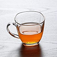Jinelza Transparent Oval Shape Square Crystal Clear Toughened Glass Tea Cup with Convenient Solid Handle Cups, Glass Set…