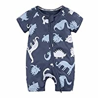 Boys Rompers, SHOBDW Baby Kids Girls Dinosaur Printed Zipper Short Sleeve Jumpsuit Toddler Newborn Summer Outfits Clothes Pajamas Gifts (9-12 Months, 1-Navy)