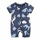 SHOBDW Boys Rompers, Baby Kids Girls Dinosaur Printed Zipper Short Sleeve Jumpsuit Toddler Newborn Summer Outfits Clothes Pajamas Gifts (18-24 Months, 1-Navy)