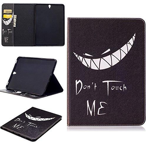 Galaxy S3Fall, jeccy Ständer Funktion Ultra Slim Book Folio Stil Druck PU Leder Schutzhülle mit Kredit/Id Card Slot für Samsung Galaxy Tab S39,7Zoll Tablet W/S Pen sm-t820/sm-825, Teeth