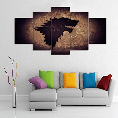 LA VIE 5 Teilig Wandbild Hochwertiger Leinwand Bilder Game of Thrones Haus Stark von Winterfell Family Emblem Moderne Poster Drucken für Zuhause Wohnzimmer Schlafzimmer Küche Hotel Büro Geschenk