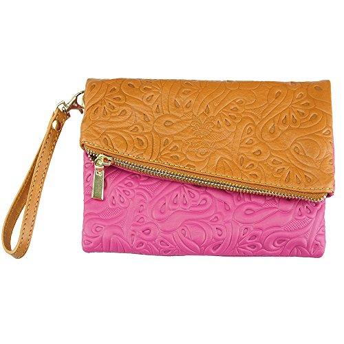 Tasche aus weichem Rindsleder mit floralem Muster Made in Italy Pink-braun