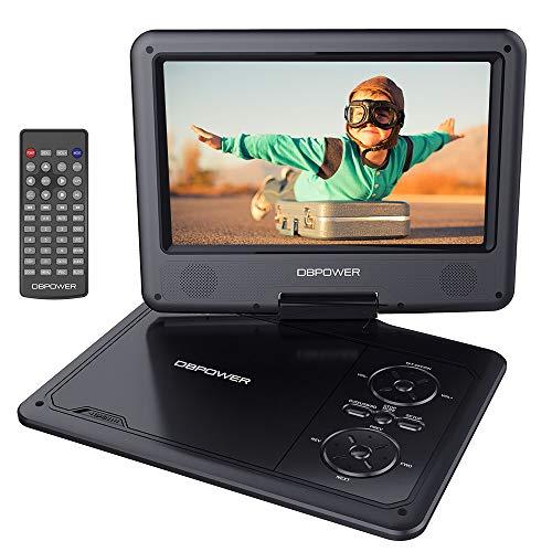 """DBPOWER 11.5"""" Lecteur DVD Portable, pile rechargeable de 5 heures, avec écran orientable, compatibilité carte SD et interface USB, lit directement les formats AVI, RMVB, MP3 et JPEG (Noir)"""