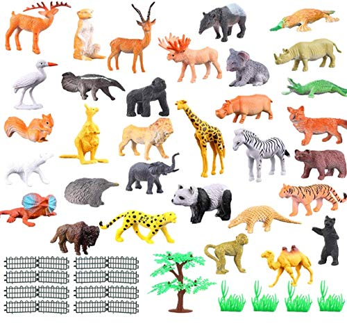 JZK Set 53 x Gioco Piccoli Animali Giungla plastica per Bambini animaletti Selvatici Giocattolo Figure Animali Zoo pensierino Regalo Dopo Festa Compleanno Bimbi