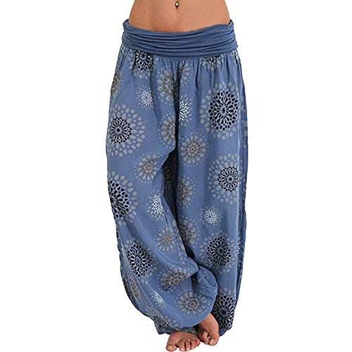 Vertvie Damen Hosen Lang Bedrucken Pumphose Haremshose Sommerhose Yogahose Aladinhose Baggy Harem Stil mit Elastischen Bund (Blau, EU 44/Etikettengröße 2XL)