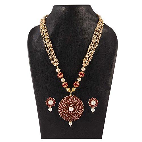 Simaya Fashionista Jewellery Dark Maroon Colour Pachi Pearls Fashionable Necklace Set With...