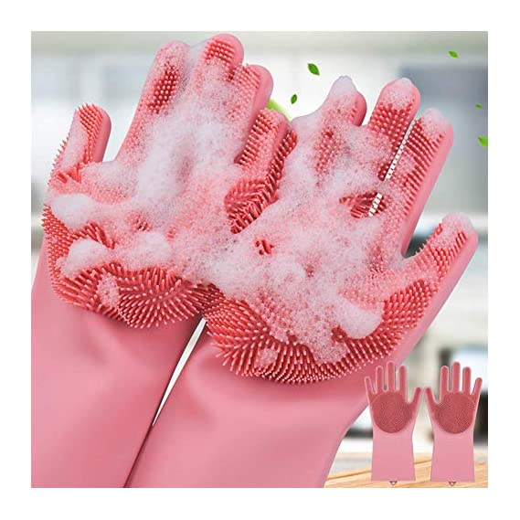 BUYERZONE Silicone Scrubbing Gloves for Dish Washing and Pet Grooming (Assorted Color)