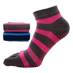 Maybesky Yoga Socken Damen Fünf-Finger-Baumwolle Schweißabsorbierende Atmungsaktive Fingersocken Pilates, Anti-Rutsch-Slip-Socken