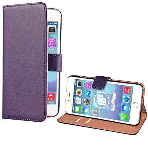 "deinPhone Apple iPhone 6 6S Plus (5.5"") KUNSTLEDER FLIP CASE Hülle Tasche Eulen Happy Family Kreditkartenfach Lila"