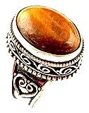 Anillo OJO DE indie artesanos naturales Tiger 925 de superposición de piedras preciosas anillo Anillo para mujer Reino Unido Tamaño Tamaño Q / anillo de la UE 57.5
