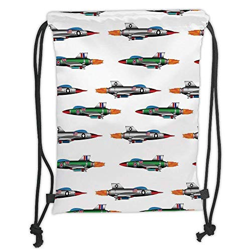 PPOOia Drawstring Backpacks Bags,Airplane Decor,Collection of Jet Fighters Rocket Aviation Attack Fire Bombers Missile Modern UK Model Print,Multi Soft Satin,5 Liter Capacity,Adjustable S