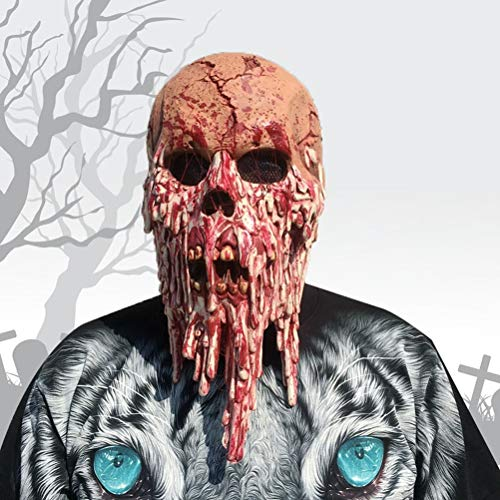 Halloween Creepy Kostüm Maske Latex Ghostface-maske Kostüm Requisiten Scary Horror Maske für Maskerade Halloween Party Spook ()