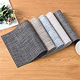 Kakiyi Leinen-Design-PVC Tischset Speise Schüssel-Platten-Auflage Tischdeko Mat Bar-Schalen-Auflage-Untersetzer - 9