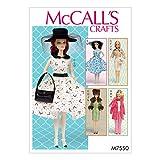 McCall's Patterns McCall Pattern 7550OS, vêtements et Accessoires pour poupée 111/5,1cm, Multi/Couleur