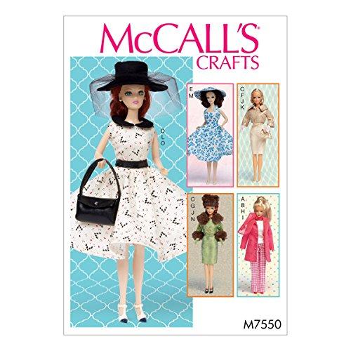 McCall' s Patterns Modello 7550OS, Abiti e Accessori per 111/2' Doll, Multi/Colore