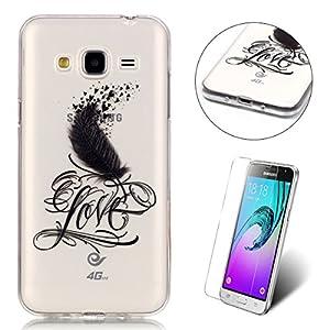 CaseHome Compatible for Silicone Gel Case for Samsung Galaxy J3 2016/J310/J3 2015 Hülle Transparent Weiche Silikon Schutzhülle,Weicher Klar Gel Silikon TPU Hülle Silikon Case Schale-Feder Herzen