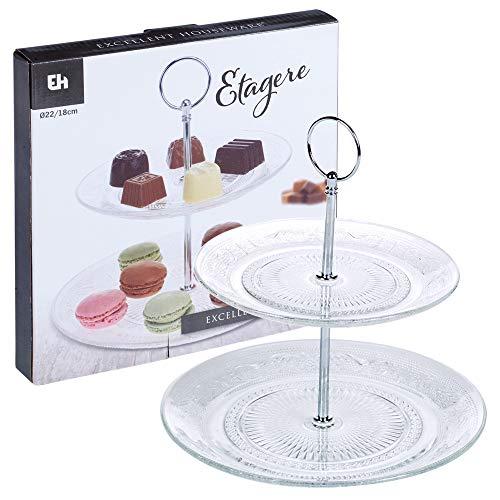EH 2 ou 3 étages en verre support à gâteaux 2 Tier