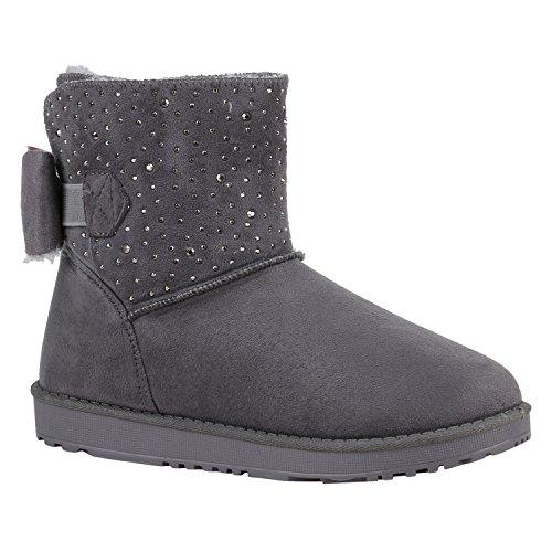 Damen Schuhe Stiefeletten Schlupfstiefel Warm Gefütterte Stiefel Strass 152382 Grau Bexhill 38...