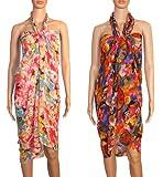 #5: INDIAN FASHION GURU Women's set of 2 beautiful beach wear sarong, pareo, wrap swimsuit cover up