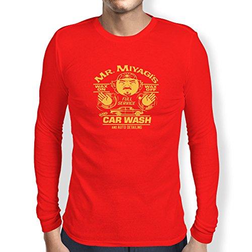 TEXLAB - Mr. Miyagi's Car Wash - Herren Langarm T-Shirt, Größe XXL, rot (Cobra Kai Kostüm Für Herren)