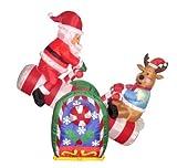 4pie hinchable de Papá Noel y reno Navidad animada en Teeter Totter al aire libre Patio decoración por BZB mercancías
