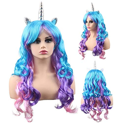 Purple and Blue Unicorn Wig for Women