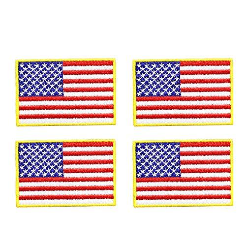Kostüm Patch Zurück - 4 Stück amerikanische Flagge bestickt Stoff zum Aufnähen zum Aufbügeln goldener gelber Rand United States of America Militär Uniform zum Aufbügeln