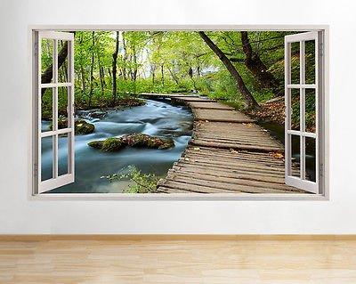 Adhesivo con Hermoso Paisaje de un Bosque con un Lago simulando Ventana de Sala de Estar en 3D, Pegatina para Dormitorio de bebé y de niños, salón, vestíbulo, para niños o niñas (52x30 cm)