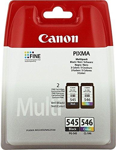Preisvergleich Produktbild Original Tinte passend für Canon Pixma MG 2555 Canon PG-545 CL 546 8287B005 - 2x Premium Drucker-Patrone - Schwarz, Cyan, Magenta, Gelb - 1x180 & 1x180 Seiten - 2 x 8 ml
