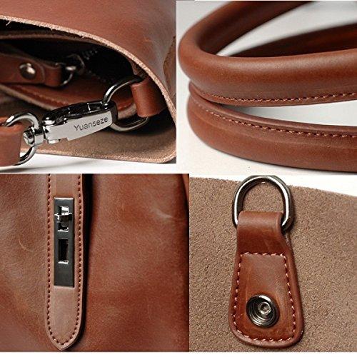 Hermiona Simple Fashion Genuine Leather Bag Shoulder Bag Handbag Crossbody Bag Brown