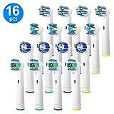 Têtes de Brosse de Rechange Compatibles Oral B, 16 Pcs Brossette de rechange Pour Oral-B Têtes de Brosse à Dents Electrique, 4 Floss EB25-P, 4 Cross EB50-P, 4 Precision EB20-P & 4 Whitening EB18-P