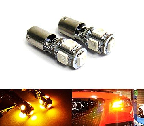 2x 435 H21W BAY9s Birne 5 SMD LED Blinker Tageslicht DRL Seitenlicht Bernstein (Miniatur 5w)