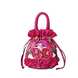 AJUSEN Frauen Elegante Blumenspitze-Abend-Abschlussball-Handtaschen-Geldbeutel-Einkaufstasche (Rose Red)