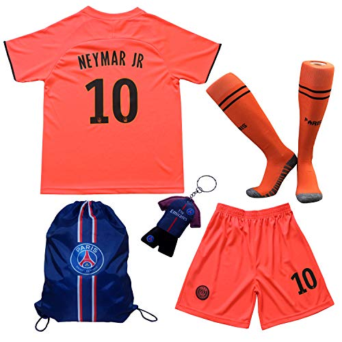 TMB Apparel 2019/2020 Paris #10 Neymar JR. Auswärts Auswärtstrikot Kinder Fußball Trikot Hose und Socken Kindergrößen (Auswärts, 26 (9-10 Jahre))