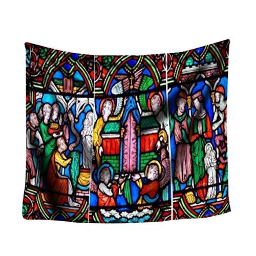 Nncande Kunst-Notre Dame-Glasfenster gemalte Digitaldruck-Tapisserie Wand Gobelin Tapisserie Bunter Druck-Kunst-Raum- Landschaft Für Schlafzimmer Hintergrundstoff 150x130CM