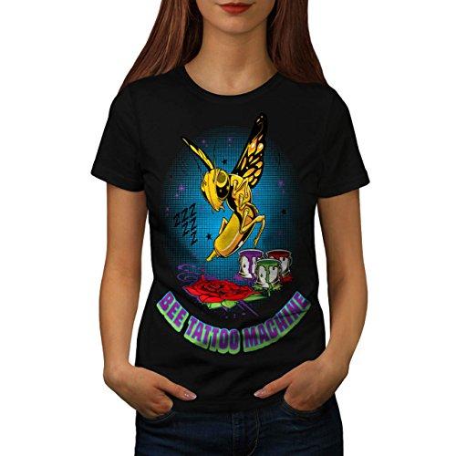 abeille-tatouage-machine-guepe-femme-nouveau-noir-m-t-shirt-wellcoda