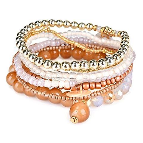 RareLove Bohemian Bone Color Beaded Bracelet Stretch Wrap Bangle With Charms Shells Round Layered