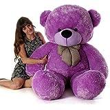 Frantic Teddy Bear with Neck Bow Premium Quality Soft Plush Fabric (Purple, 3 Feet)