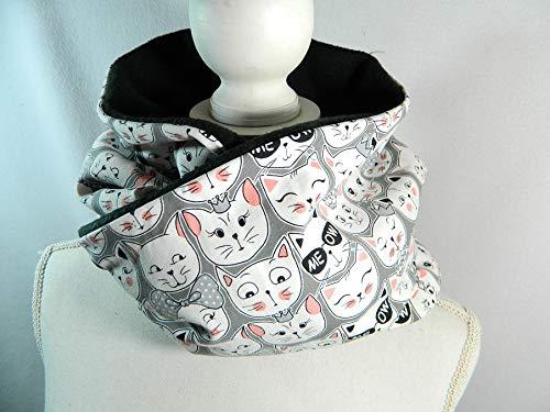 Loop Schal Katzen Cats grau rosa Baumwolljersey Fleece