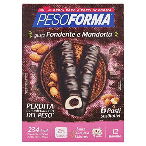 Pesoforma Barrette Cioccolato Fondente e Mandorla Pasto sostitutivo dimagrante ricco proteine 6 pasti 372 g